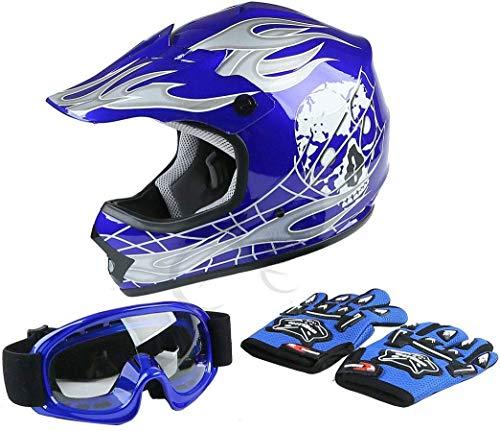 TCT-MT Helmet GogglesGloves New DOT Youth Blue Skull Dirt Bike ATV Motocross Large