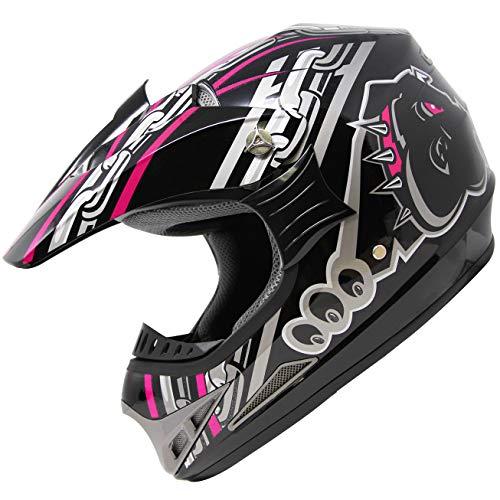 X4 ATV Off-Road Quad MX Motocross Dirt Bike Mountain Helmet for Adult Men Women 128 PinkBlack L