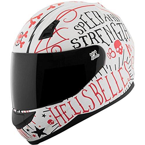 Speed and Strength Womens SS700 Hells Belles Street Motorcycle Helmet - Matte WhiteRed  Medium