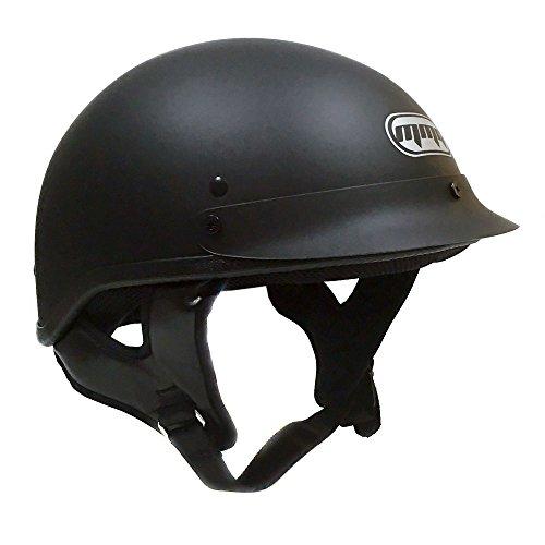 Motorcycle Half Helmet Cruiser DOT Street Legal - Flat Matte Black X-Large