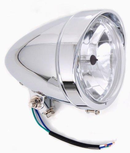 Chrome Headlight with Visor Light 55 Halogen fits Suzuki Honda Yamaha Kawasaki Motorcycle