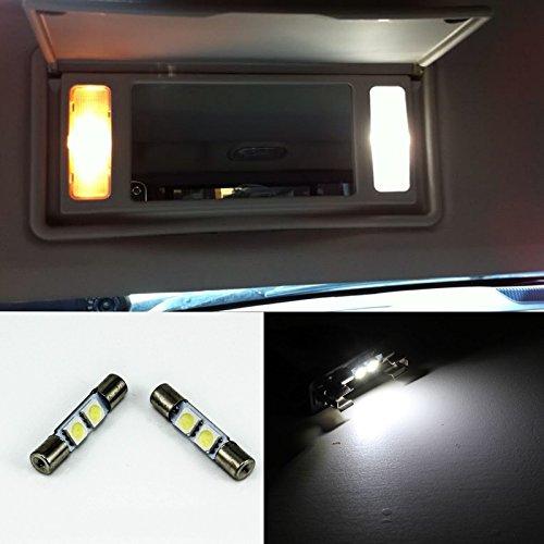 LEDpartsNow 29mm LED Light Bulbs for Vanity Mirror Sun Visors 6614F 6641 6614 2 Pieces WHITE