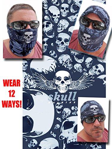 12-in-1 Headband - Dark Gray Multi Skull - Versatile Sports Casual Headwear - Wear As a Bandana Neck Gaiter Balaclava Helmet Liner Mask - High Performance Microfiber -