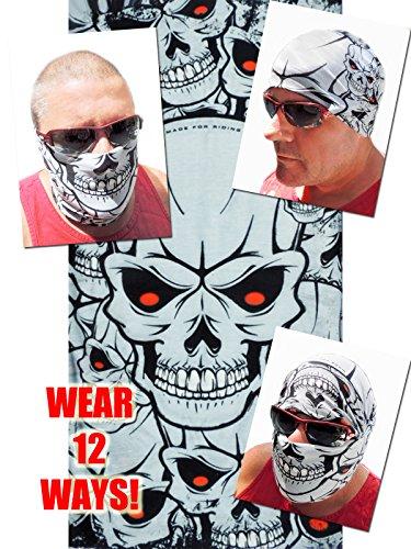 12-in-1 Headband - Light Grey Multi Skull Versatile Sports Casual Headwear - Wear as a Bandana Neck Gaiter Balaclava Helmet Liner Mask - High Performance Moisture Microfiber