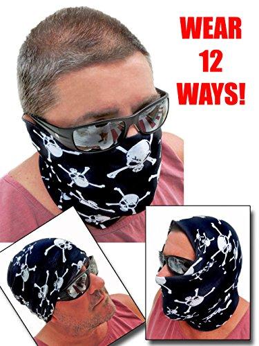 12-in-1 Headband - Multi Crossbone Versatile Sports Casual Headwear - Wear as a Bandana Neck Gaiter Balaclava Helmet Liner Mask - High Performance Moisture Microfiber Multi Skull Black