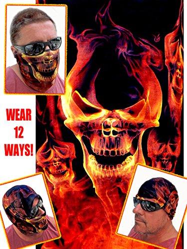 12-in-1 Headband - RED Skull Flame - Versatile Sports Casual Headwear - Wear as a Bandana Neck Gaiter Balaclava Helmet Liner Mask - High Performance Microfiber