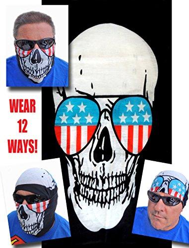 12-in-1 Headband - Skulll w Glasses Multi Skull Versatile Sports Casual Headwear - Wear as a Bandana Neck Gaiter Balaclava Helmet Liner Mask - High Performance Moisture Microfiber