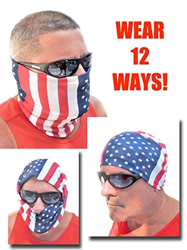 12-in-1 Headband - USA American Flag Versatile Sports Casual Headwear - Wear as a Bandana Neck Gaiter Balaclava Helmet Liner Mask - High Performance Microfiber