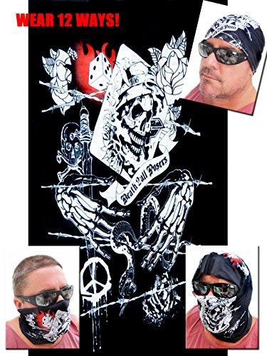 12-in-1 Headband - Versatile GRIM REAPER Sports Casual Headwear - Wear as a Bandana Neck Gaiter Balaclava Helmet Liner Mask Halloween More High Performance Microfiber