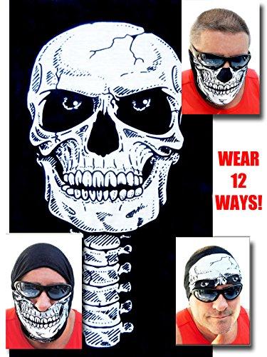 12-in-1 Headband - Versatile SKULL Sports Casual Headwear - Wear as a Bandana Neck Gaiter Balaclava Helmet Liner Mask Halloween More High Performance Microfiber