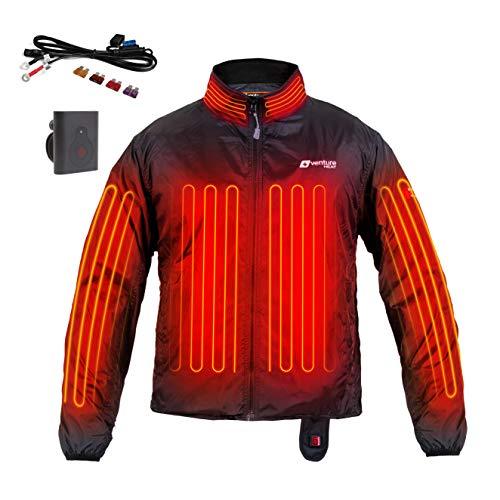 Venture Heat 12V Motorcycle Heated Jacket Liner with Wireless Remote 7 Heating Zones - 75 Watt Deluxe Protective Gear XXXL Black