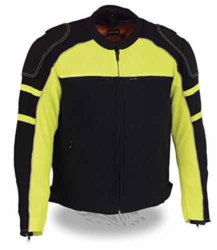 MENS MOTORCYCLE BLACK GREEN MESH RIDING JACKET W REMOVABLE RAIN JACKET LINER XL Regular