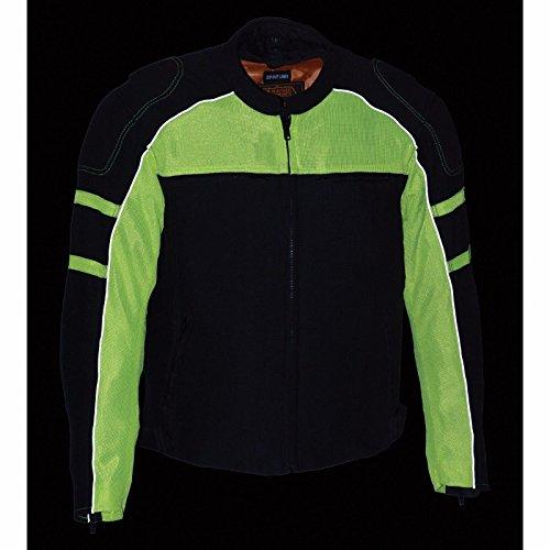 Mens Motorcycle Biker Jacket with armors Rain jacket Liner New Mesh BlkGreen S Regular