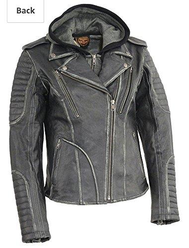 Milwaukee Leather Womens Rub-off MC Jacket with Full Hoodie Jacket LinerBlack 5X-Large 1 Pack