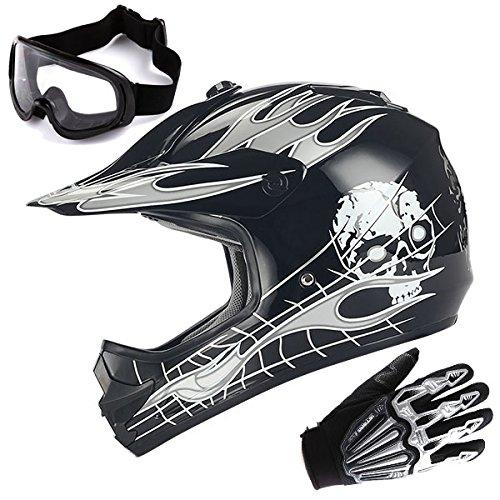 Youth Motocross Helmet MX BMX ATV Bike Kids White Skull Black Helmet  Goggle  Skeleton Glove