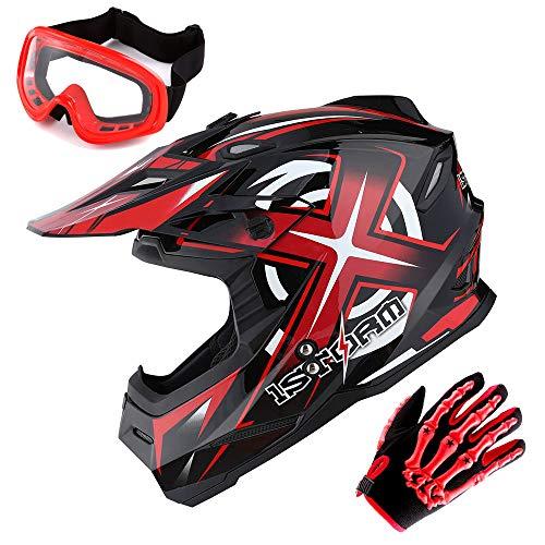 1Storm Adult Motocross Helmet BMX MX ATV Dirt Bike Helmet Racing Style Glossy Red  Goggles  Skeleton Red Glove Bundle