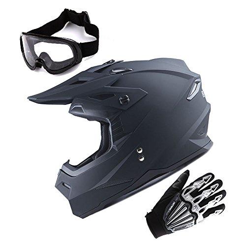 1Storm Adult Motocross Helmet BMX MX ATV Dirt Bike Helmet Racing Style Matt Black  Goggles  Skeleton Black Glove Bundle