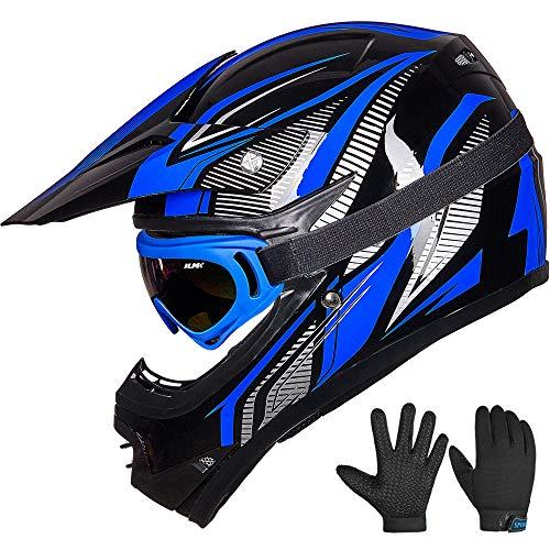 ILM Youth Kids ATV Motocross Dirt Bike Motorcycle BMX Downhill Off-Road MTB Mountain Bike Helmet DOT Approved Youth-XL BlueSilver