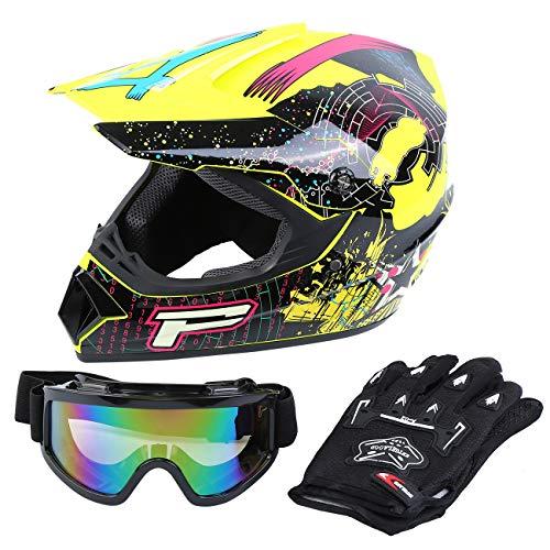 Samger DOT Adult Offroad Helmet Motocross Helmet Dirt Bike ATV Motorcycle Helmet Gloves Goggles S Yellow