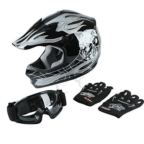 TCT-MT DOT Helmet wGogglesGloves Youth Kids Motocross Helmet Hot Black Skull Dirt Bike ATV Child Helmet Gloves Goggles Medium