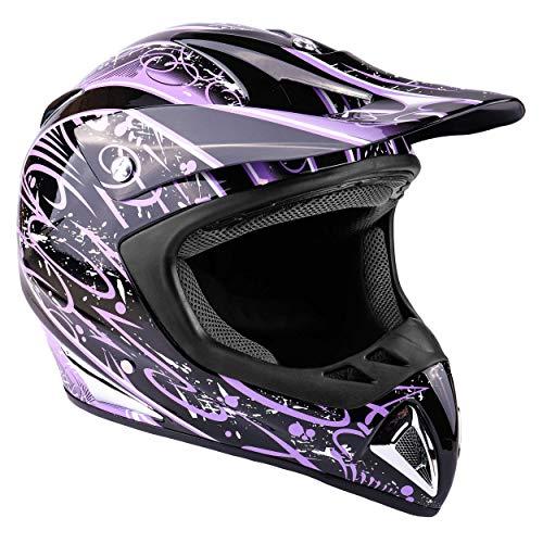 Typhoon Adult Womens Dirt Bike Helmet ATV Off Road ORV Motocross Helmet DOT Motorcycle Purple Large