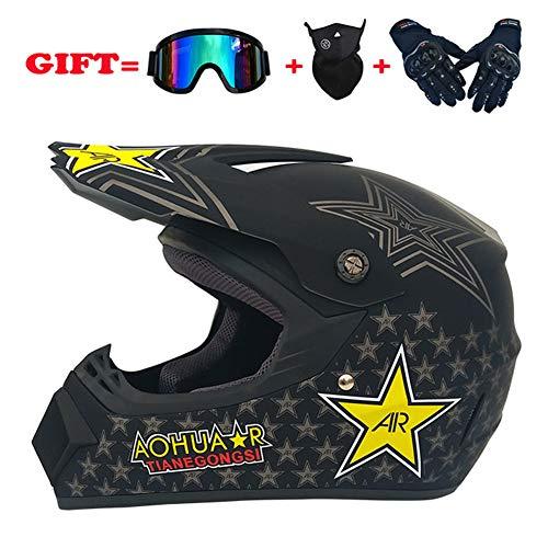 Youth Kids Motocross Helmet Offroad Gear Combo Mask Goggles GlovesRetro Stars ATV Motorcycle Helmet SUV Dirt Bike Mountain Bike HelmetMattblackstarXL