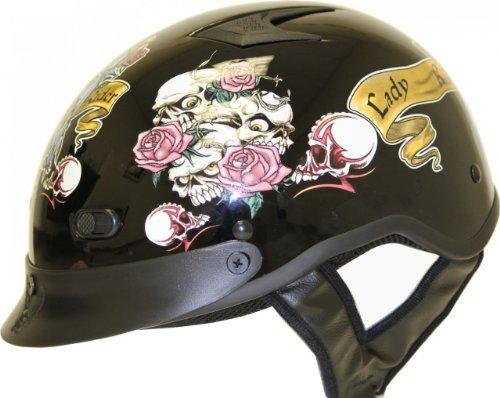 DOT VENTED LADY RIDER BLACK MOTORCYCLE HALFBEANIE HELMET-S