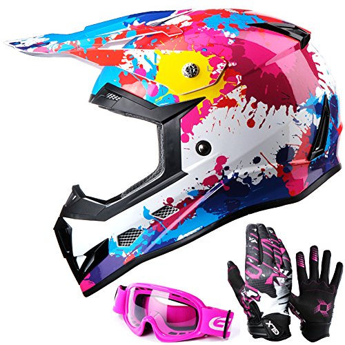GLX DOT Youth Kids Motocross ATV Dirt Bike Helmet Off Road Graffiti PinkGogglesGloves L