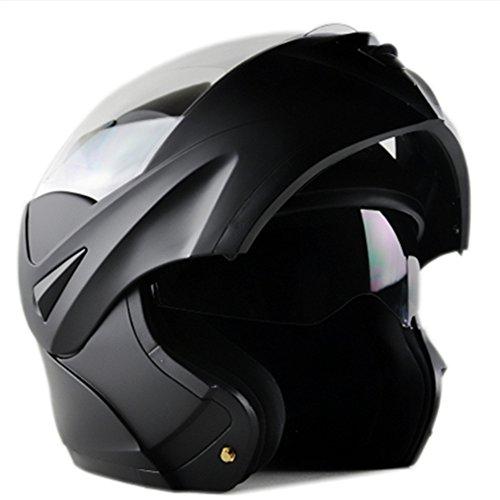 ILM 10 Colors Motorcycle Dual Visor Flip up Modular Full Face Helmet DOT M Matte Black