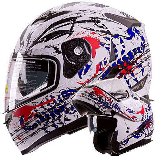 IV2 Blood Scorpion Modular Dual Visor Motorcycle  Snowmobile Helmet DOT Approved IV2 Model 953 SMALL