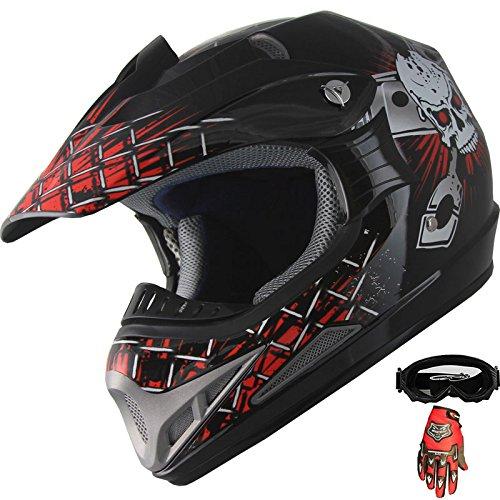 Adult Helmet ATV Motocross Dirt Bike Off-road Helmet Combo A80 GlovesGoggles XL RedBlack