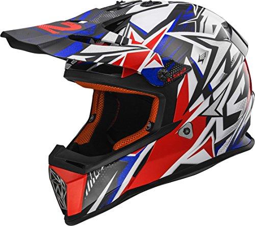 LS2 Helmets Strong Unisex-Adult Off-Road-Helmet-Style Fast Adult Helmet BlueRed Large