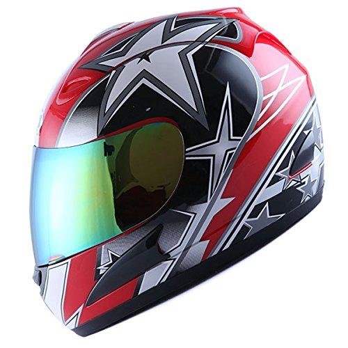 Motorcycle Street Bike Red Star Full Face Adult Helmet