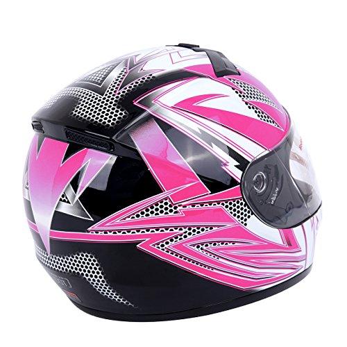 PanelTech Pink Full Face Adult Helmet for Motorcycle Street Bike Carbon Fiber M
