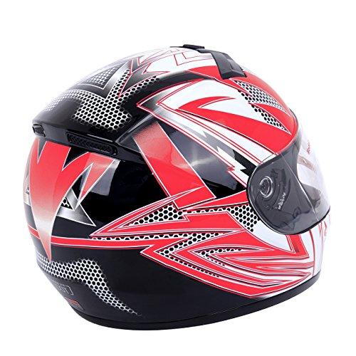 PanelTech Red Full Face Adult Helmet for Motorcycle Race Street Bike Carbon Fiber XL