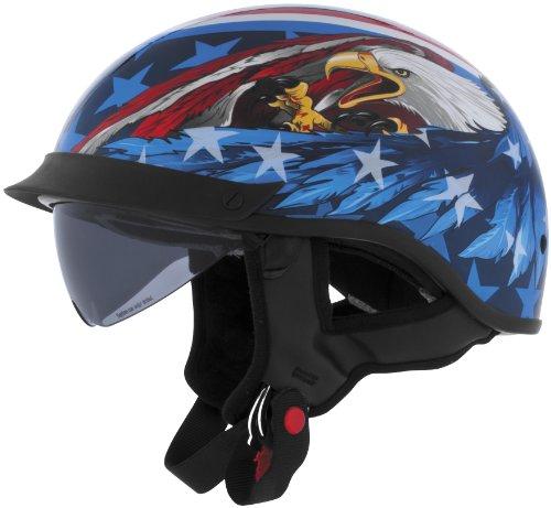 Cyber Helmets Leathal Threat U-72 Eagle Helmet with Internal Shield  Helmet Type Half Helmets Helmet Category Street Distinct Name US Eagle Primary Color Blue Size Md Gender MensUnisex 640872