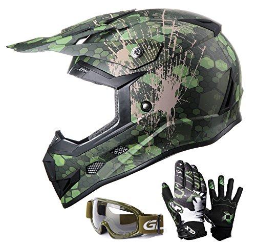 GLX Youth Kids Off Road Motocross ATV Dirt Bike Helmet Camouflage Green DOT GlovesGoggles L