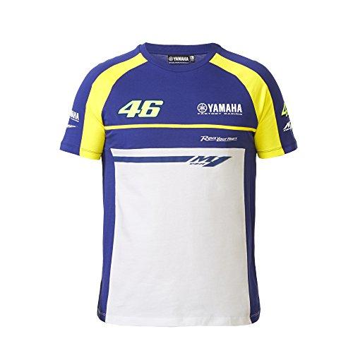 Yamaha Valentino Rossi VR46 X YAMAHA short-sleeved T-shirt Blue amp White amp yellow 46 YZF-M1 logo size XLARGE Europe