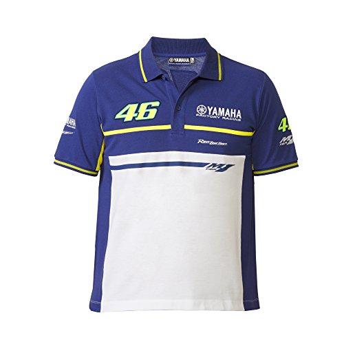 Yamaha Valentino Rossi VR46 X YAMAHA short-sleeved polo shirt Blue amp White amp yellow 46 THE DOCTOR logo size MIDIUM Europe