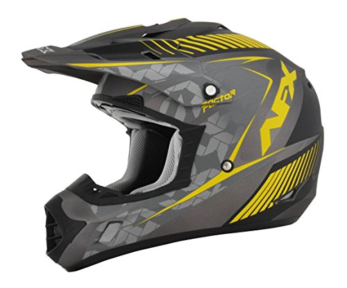 AFX FX-17 Factor Mens Motocross Helmets - GrayYellow - Small
