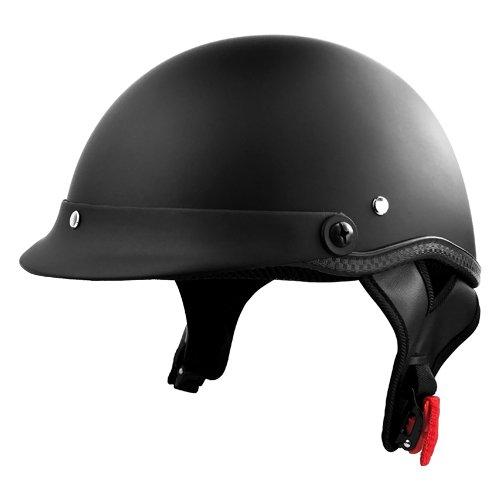 Adult Motorcycle Half Helmet - Matte Black Low Profile Helmet w Chin Strap  Medium
