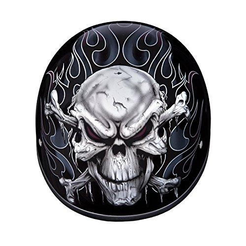 DOT Motorcycle Half Helmet With Skulls and Crossbones Size L LG Large