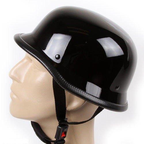 German Novelty Shiny Black Motorcycle Half Helmet Cruiser Biker SMLXLXXL XL BLACK