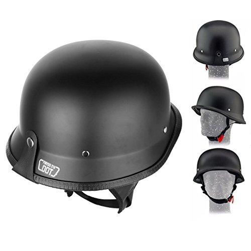 Iglobalbuy DOT Approved German Half Helmet Choooer Cruiser Custom Adult Motorcycle L