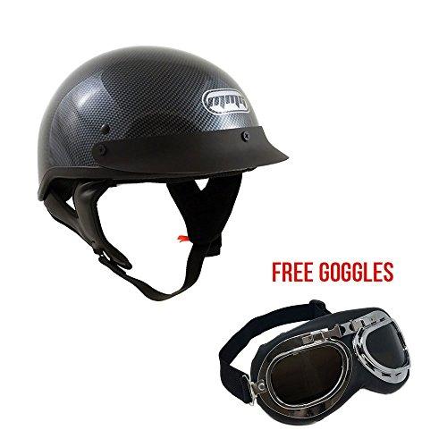 Motorcycle Half Helmet Cruiser DOT Street Legal - Carbon Fiber Medium  FREE Goggles Chrome Vintage Pilot Style