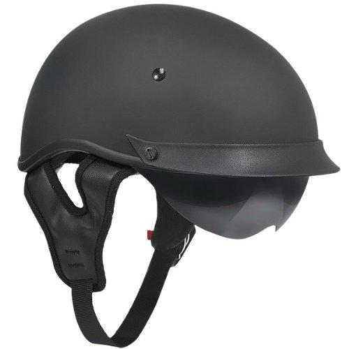 Outlaw T-72 Matte Black Dual-Visor Motorcycle Half Helmet - Medium