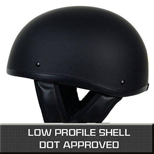 PGR B03 MATTE BLACK LOW PROFILE OLD SCHOOL SKID LIDS HARLEY STYLE DOT APPROVED MOTORCYCLE HALF HELMET CHOPPER CRUISER CUSTOM SHORTY XS