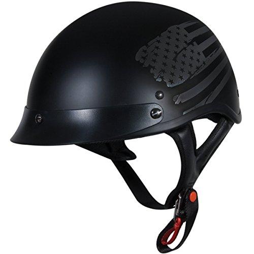 TORC T53 Black Hills Motorcycle Half Helmet with Graphic Flag
