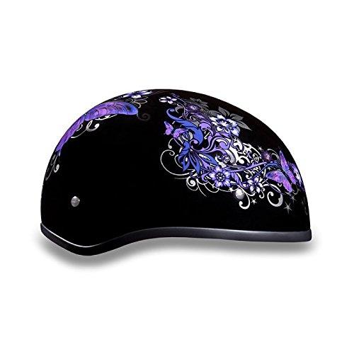 Womens DOT Purple Butterfly Motorcycle Half Helmet Size S SM Small