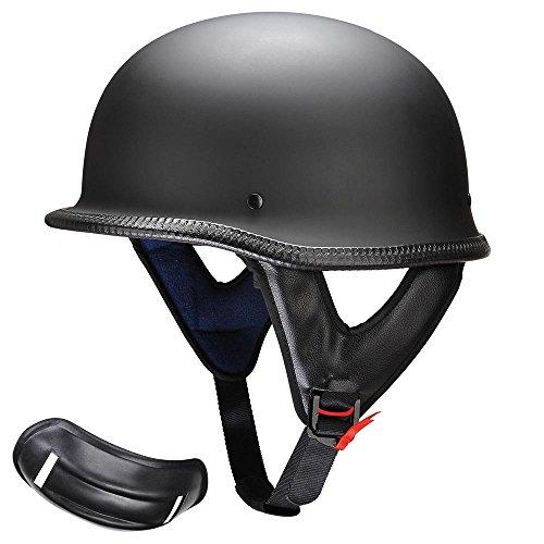 Yescom DOT German Style Motorcycle Half Helmet Open Face Cruiser Chopper Biker Skull Cap Helmet Black L